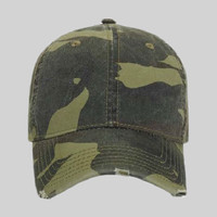 OTTO Camouflage Garment Washed Superior Cotton twill Distressed Visor Six Panel Low Profile Baseball