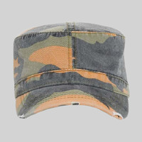 OTTO Camouflage Garment Washed Superior Cotton Twill Distressed Visor Military Cap