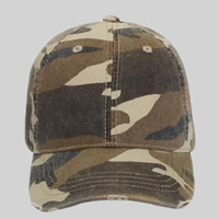 OTTO Camouflage Garment Washed Superior Cotton Twill Distressed Visor Youth Six Panel Low Profile Ba