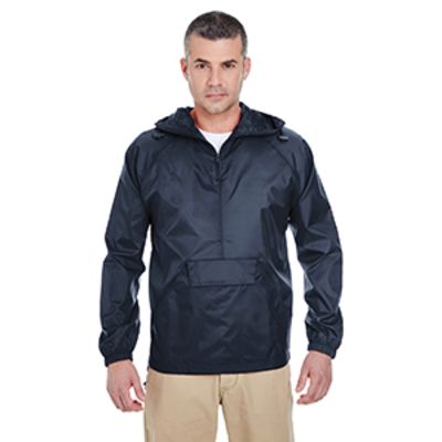 Adult Quarter-Zip Hooded Pullover Pack-Away Jacket Thumbnail