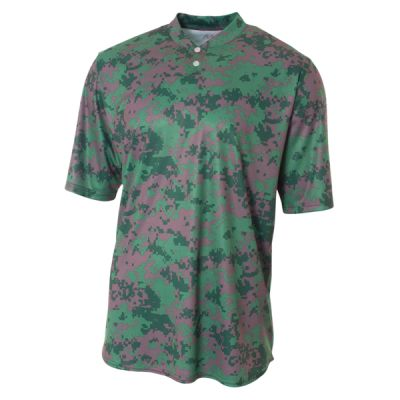 Youth Camo 2-Button Henley Shirt Thumbnail